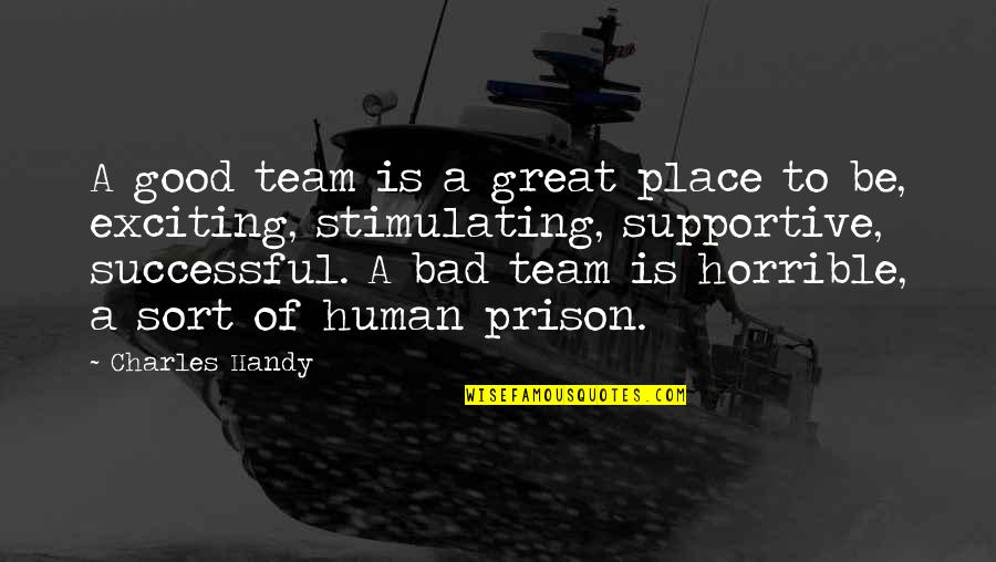The Great Good Place Quotes By Charles Handy: A good team is a great place to