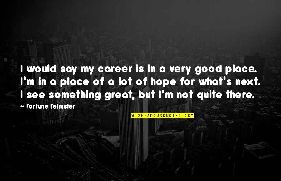 The Great Good Place Quotes By Fortune Feimster: I would say my career is in a