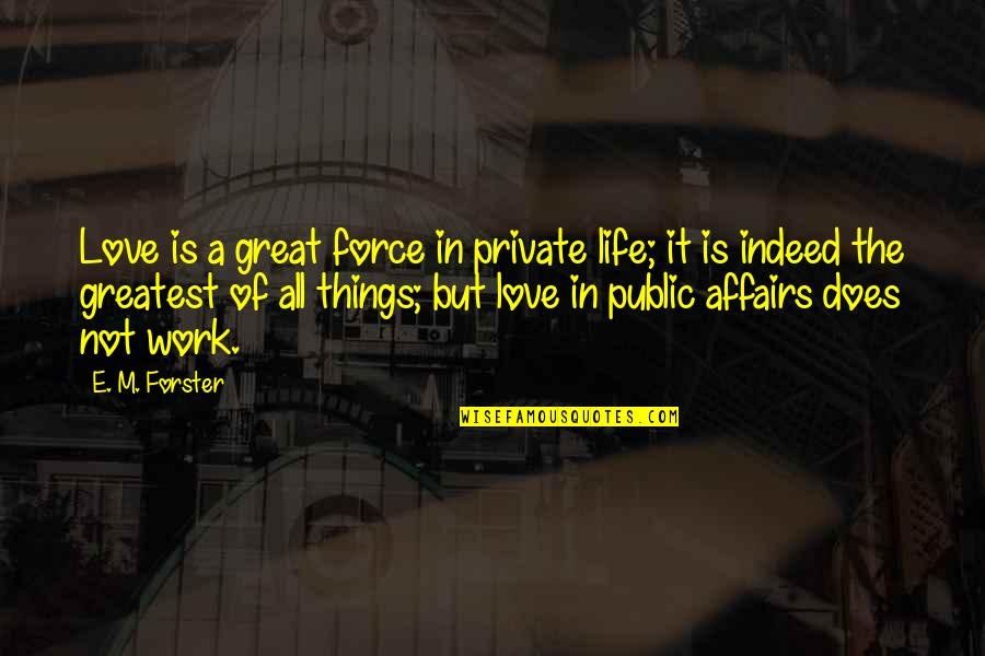 The Greatest Love Of All Quotes By E. M. Forster: Love is a great force in private life;