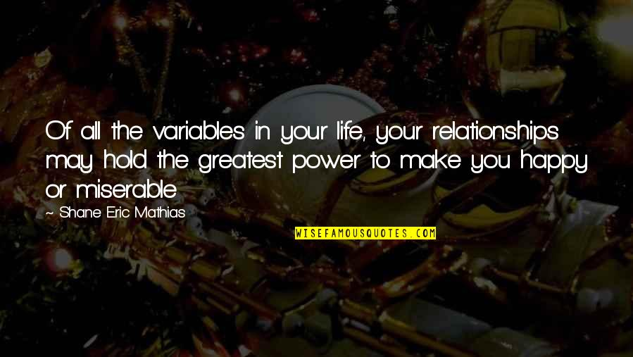 The Greatest Love Of All Quotes By Shane Eric Mathias: Of all the variables in your life, your