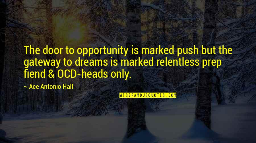 The Hall Quotes By Ace Antonio Hall: The door to opportunity is marked push but