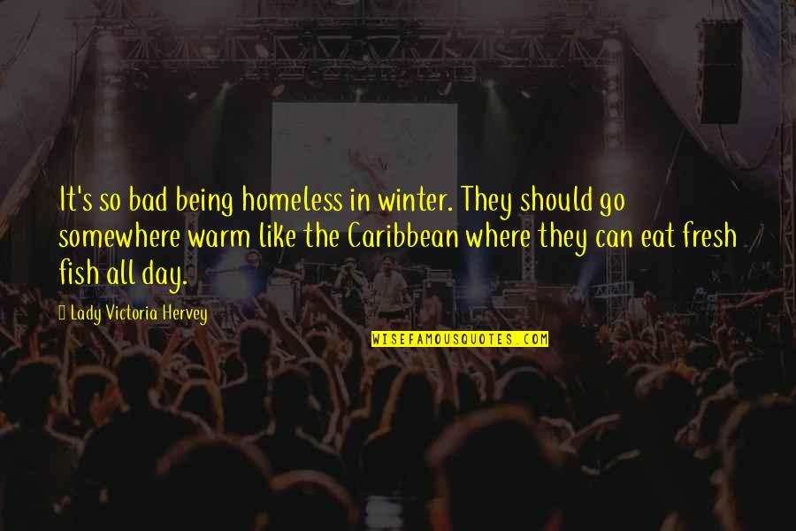 The Homeless Quotes By Lady Victoria Hervey: It's so bad being homeless in winter. They