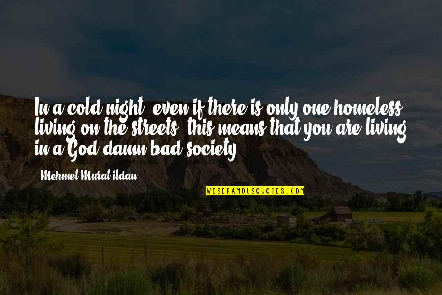 The Homeless Quotes By Mehmet Murat Ildan: In a cold night, even if there is