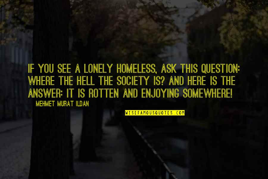 The Homeless Quotes By Mehmet Murat Ildan: If you see a lonely homeless, ask this