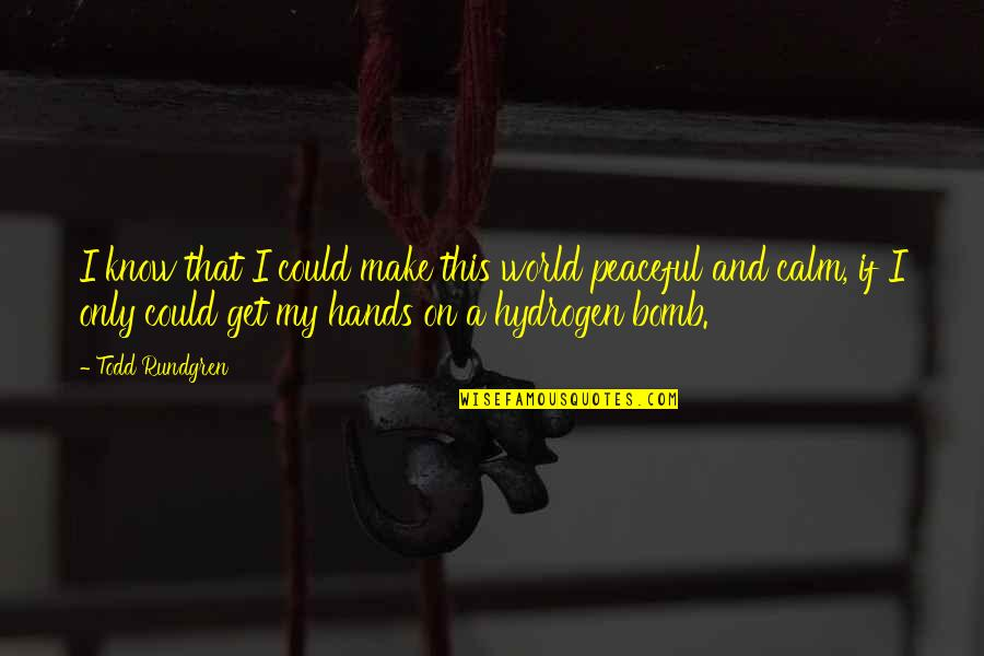 The Hydrogen Bomb Quotes By Todd Rundgren: I know that I could make this world