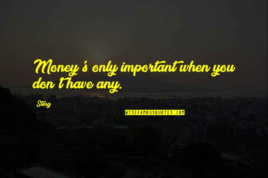 The Importance Of Money Quotes By Sting: Money's only important when you don't have any.