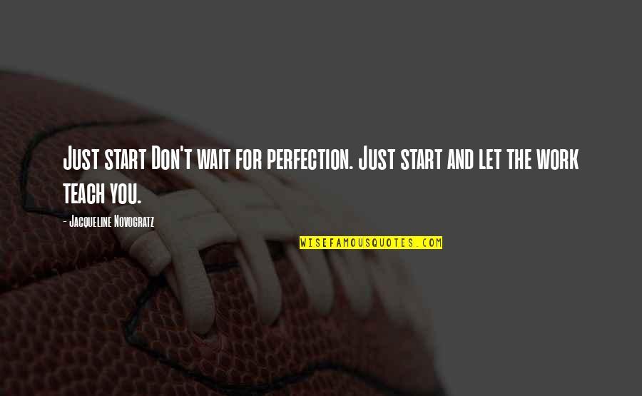 The Lady Vanishes Quotes By Jacqueline Novogratz: Just start Don't wait for perfection. Just start
