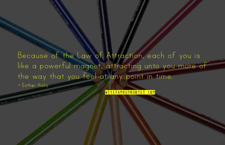 The Law Of Attraction Quotes By Esther Hicks: Because of the Law of Attraction, each of