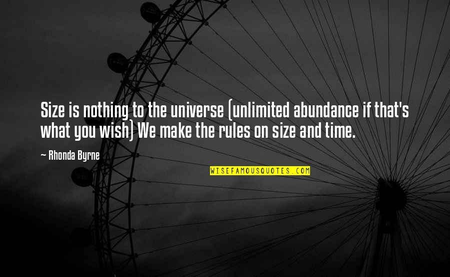 The Law Of Attraction Quotes By Rhonda Byrne: Size is nothing to the universe (unlimited abundance