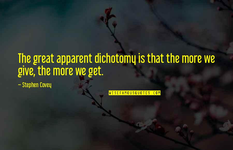 The Law Of Attraction Quotes By Stephen Covey: The great apparent dichotomy is that the more