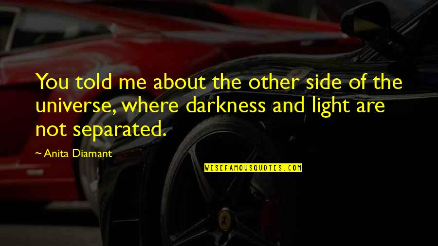The Light Side Quotes By Anita Diamant: You told me about the other side of