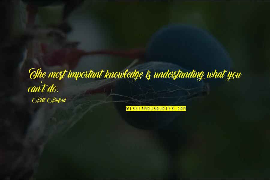 The Limits Of Knowledge Quotes By Bill Buford: The most important knowledge is understanding what you