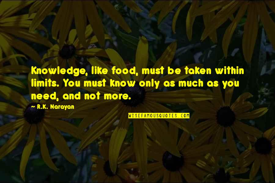 The Limits Of Knowledge Quotes By R.K. Narayan: Knowledge, like food, must be taken within limits.