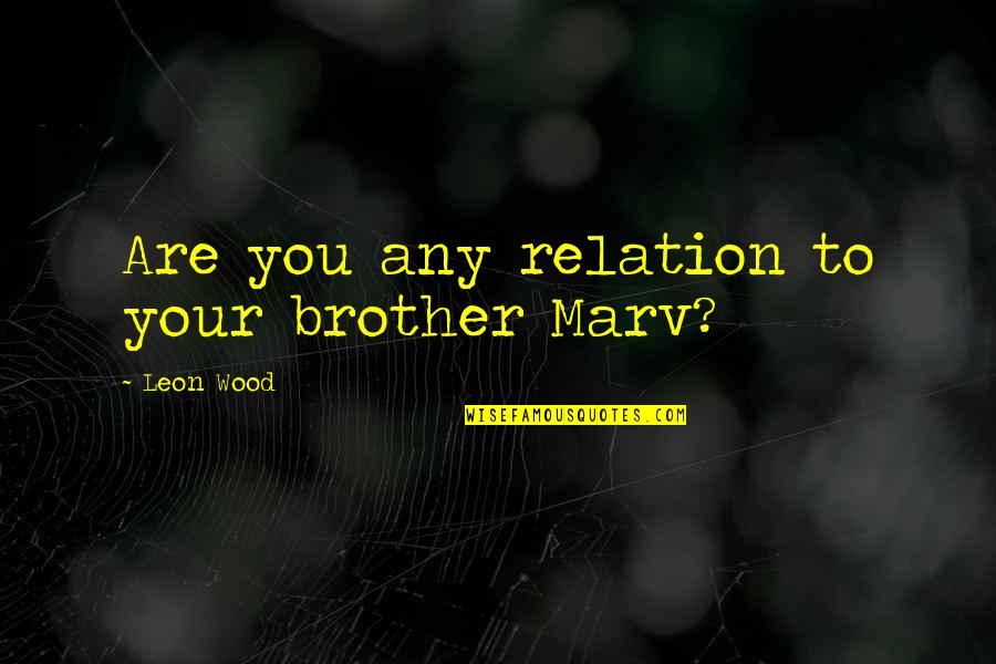 The Llano In Bless Me Ultima Quotes By Leon Wood: Are you any relation to your brother Marv?