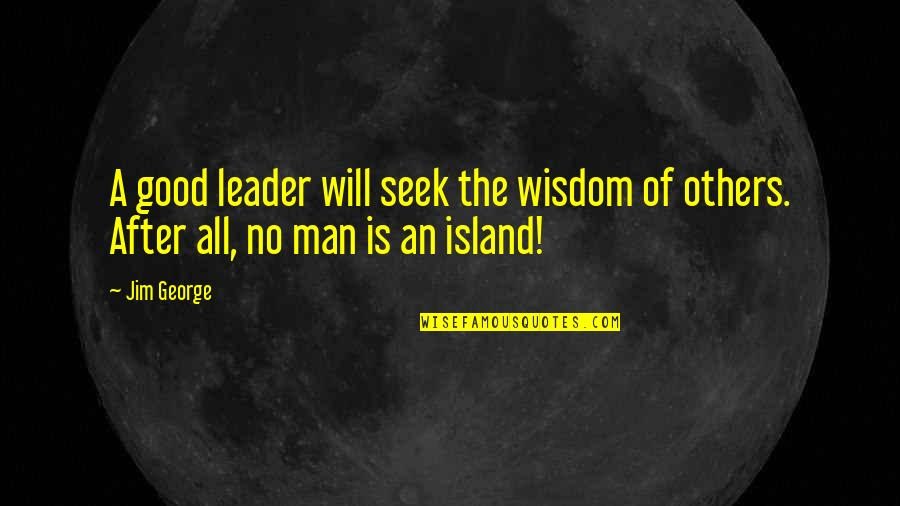 The Love Of A Good Man Quotes By Jim George: A good leader will seek the wisdom of