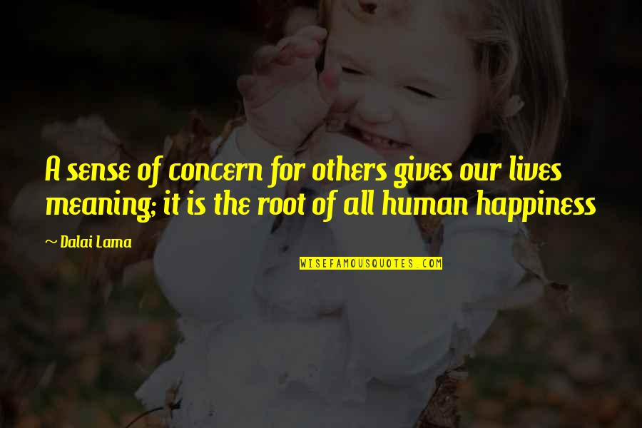 The Love Of Family Quotes By Dalai Lama: A sense of concern for others gives our