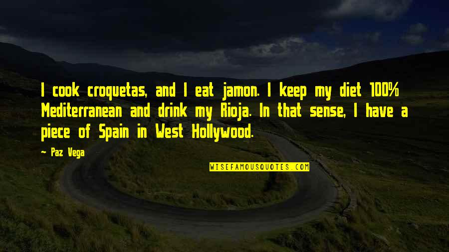 The Mediterranean Diet Quotes By Paz Vega: I cook croquetas, and I eat jamon. I
