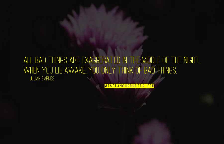 The Middle Of The Night Quotes By Julian Barnes: All bad things are exaggerated in the middle