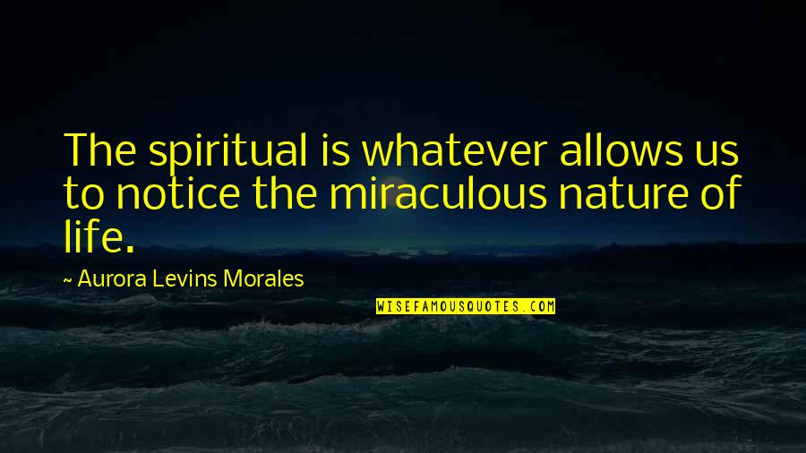 The Miraculous Quotes By Aurora Levins Morales: The spiritual is whatever allows us to notice