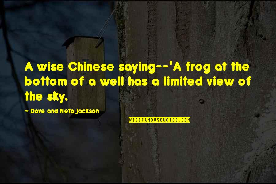 The Moon And Sky Quotes By Dave And Neta Jackson: A wise Chinese saying--'A frog at the bottom
