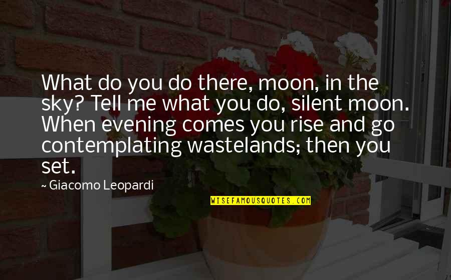 The Moon And Sky Quotes By Giacomo Leopardi: What do you do there, moon, in the