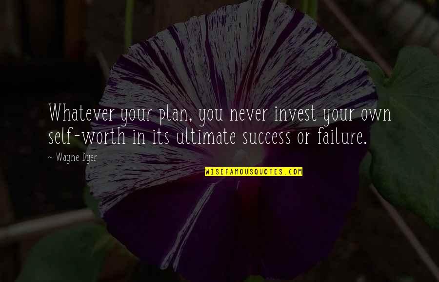 The More You Invest Quotes By Wayne Dyer: Whatever your plan, you never invest your own
