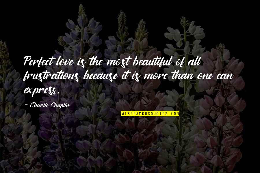The Most Perfect Love Quotes By Charlie Chaplin: Perfect love is the most beautiful of all