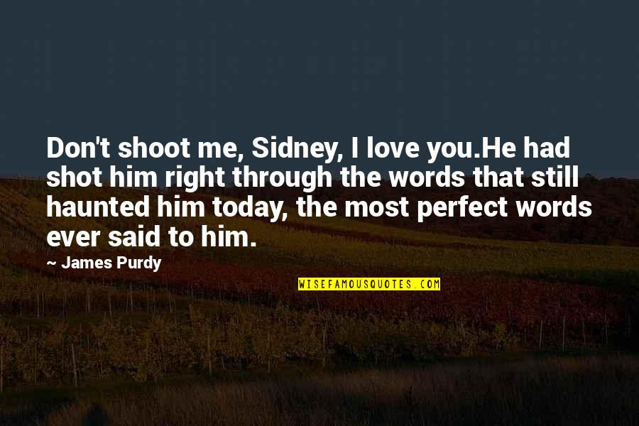 The Most Perfect Love Quotes By James Purdy: Don't shoot me, Sidney, I love you.He had