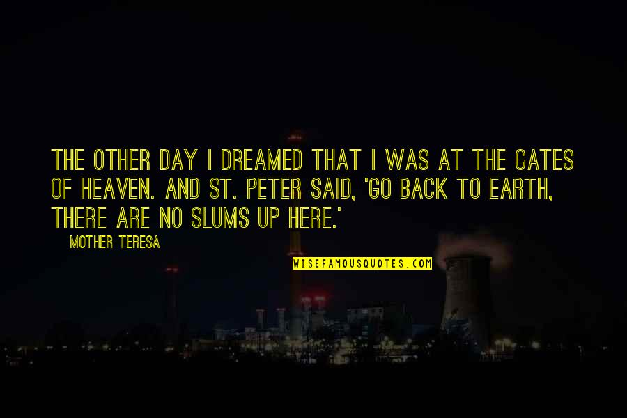 The Mother Earth Quotes By Mother Teresa: The other day I dreamed that I was