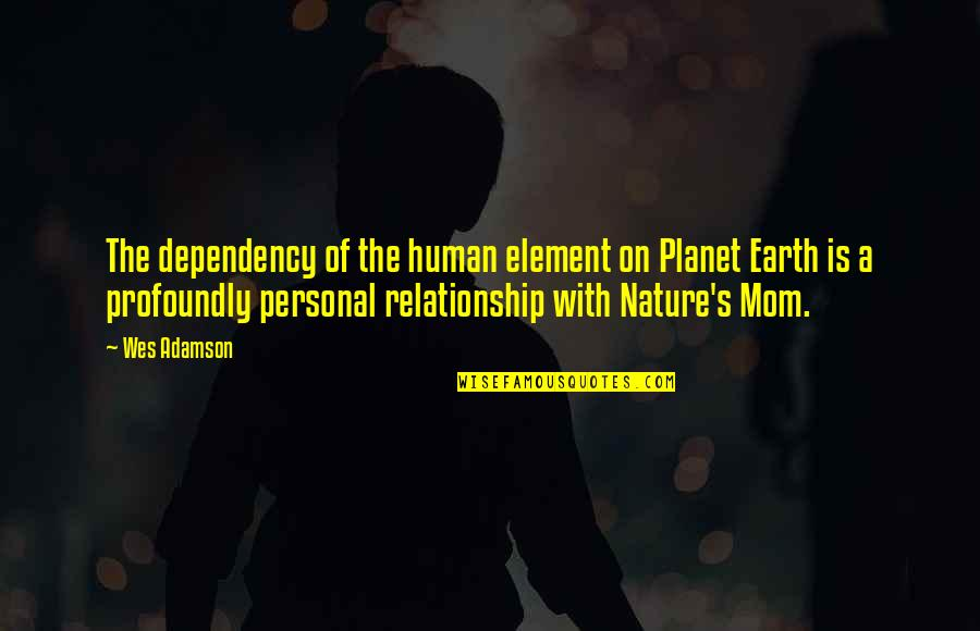 The Mother Earth Quotes By Wes Adamson: The dependency of the human element on Planet