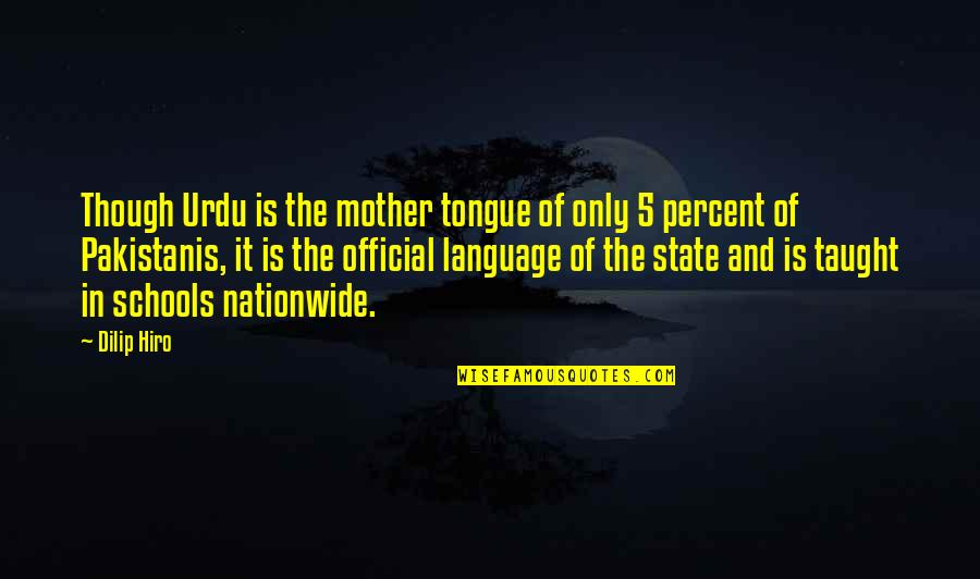 The Mother Tongue Quotes By Dilip Hiro: Though Urdu is the mother tongue of only