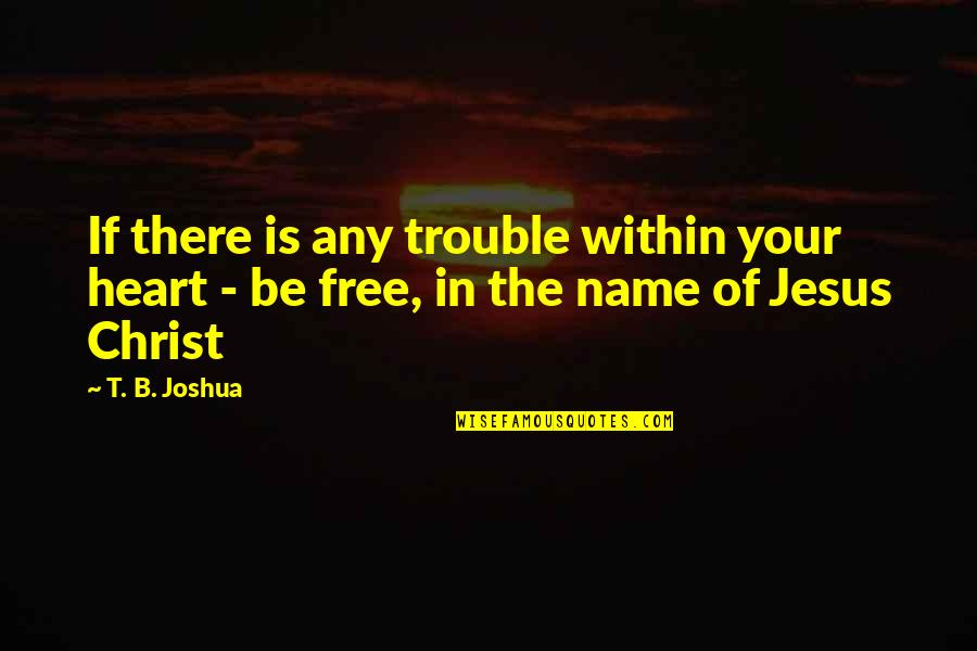 The Name Joshua Quotes By T. B. Joshua: If there is any trouble within your heart