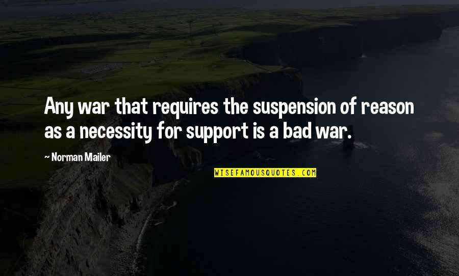 The Necessity Of War Quotes By Norman Mailer: Any war that requires the suspension of reason