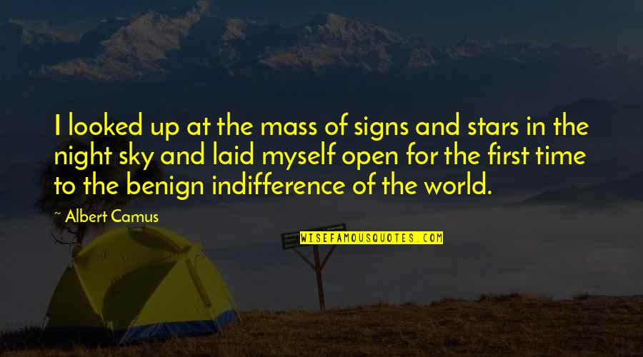The Night And Stars Quotes By Albert Camus: I looked up at the mass of signs