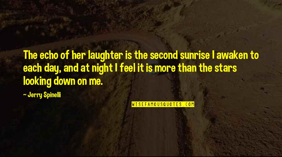 The Night And Stars Quotes By Jerry Spinelli: The echo of her laughter is the second