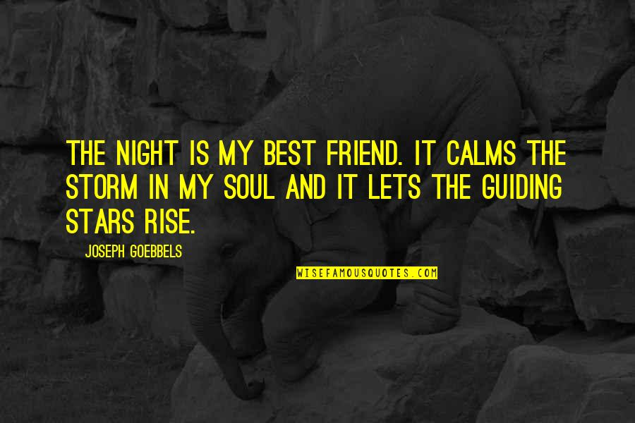 The Night And Stars Quotes By Joseph Goebbels: The night is my best friend. It calms