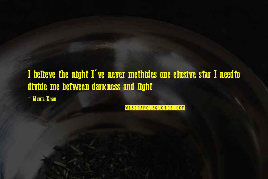 The Night And Stars Quotes By Munia Khan: I believe the night I've never methides one