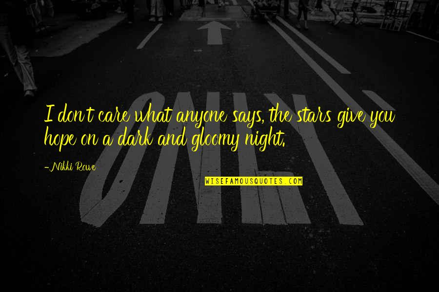 The Night And Stars Quotes By Nikki Rowe: I don't care what anyone says, the stars