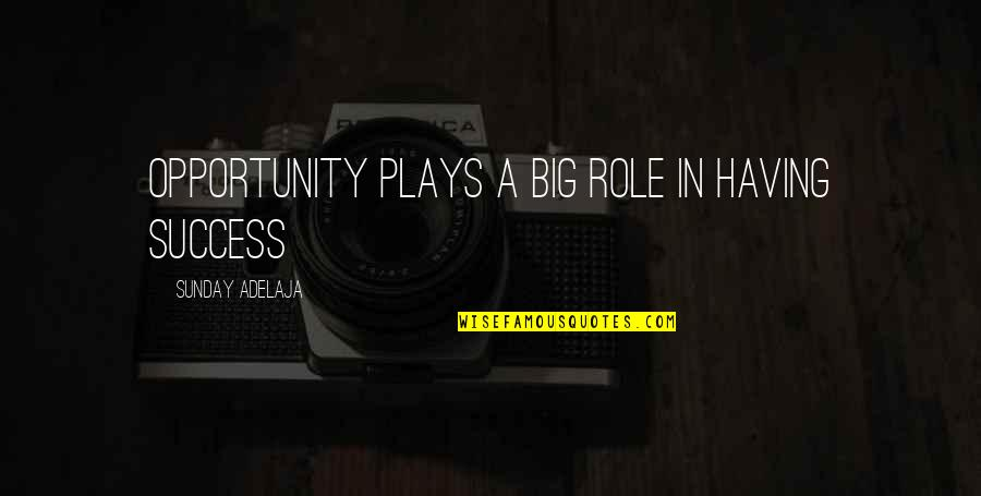 The Novel Speak Quotes By Sunday Adelaja: Opportunity plays a big role in having success