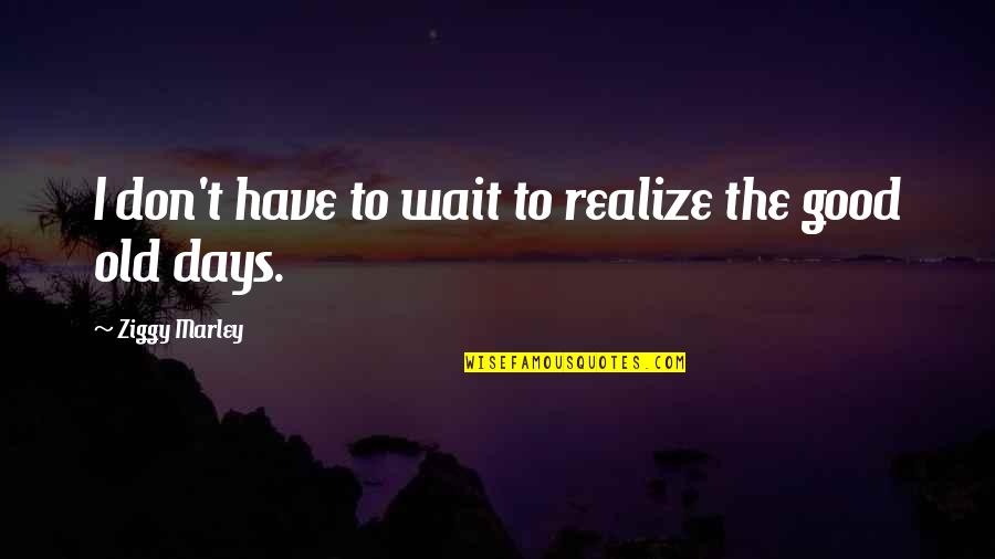 The Old Days Quotes By Ziggy Marley: I don't have to wait to realize the