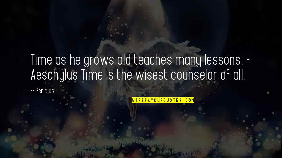 The Old Time Quotes By Pericles: Time as he grows old teaches many lessons.