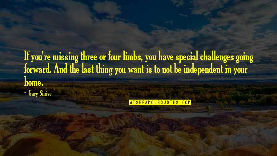 The Only Thing Missing Is You Quotes By Gary Sinise: If you're missing three or four limbs, you