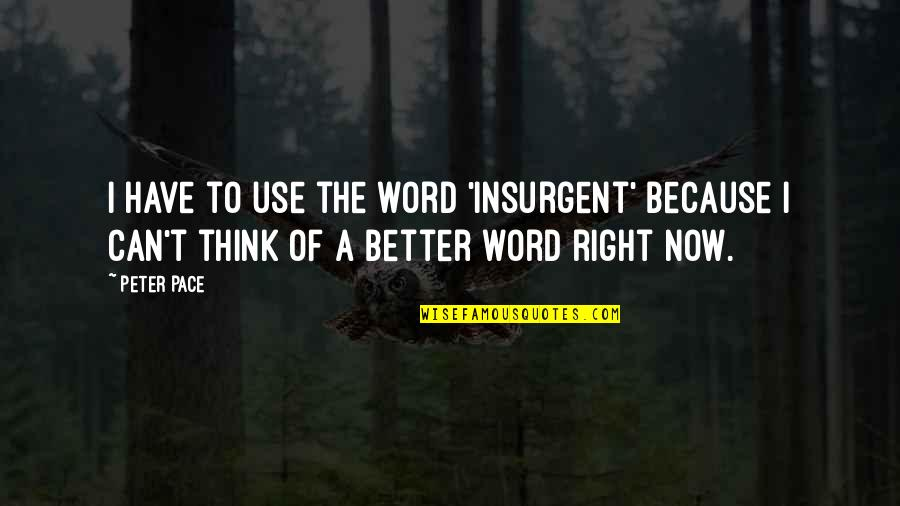 The Other F Word Quotes By Peter Pace: I have to use the word 'insurgent' because