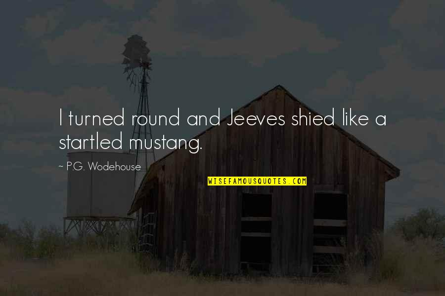 The P-51 Mustang Quotes By P.G. Wodehouse: I turned round and Jeeves shied like a