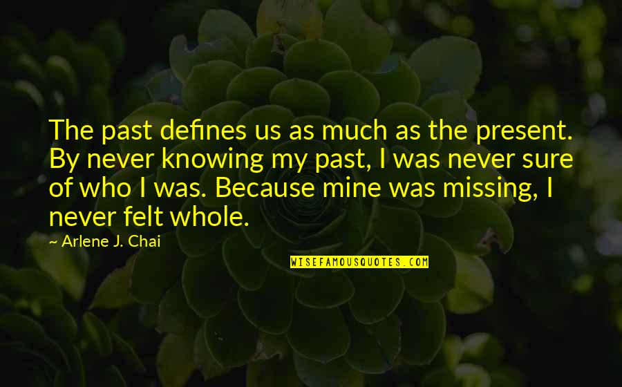 The Past Defines You Quotes By Arlene J. Chai: The past defines us as much as the