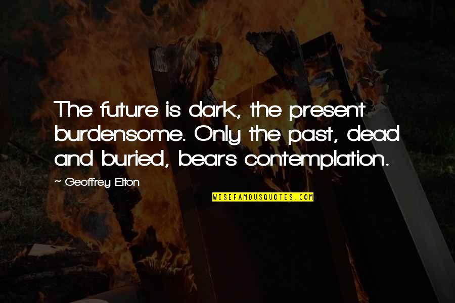 The Past Present Future Quotes By Geoffrey Elton: The future is dark, the present burdensome. Only