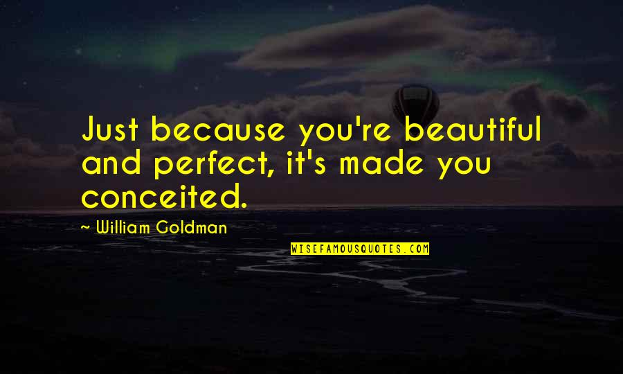 The Perfect Storm George Clooney Quotes By William Goldman: Just because you're beautiful and perfect, it's made