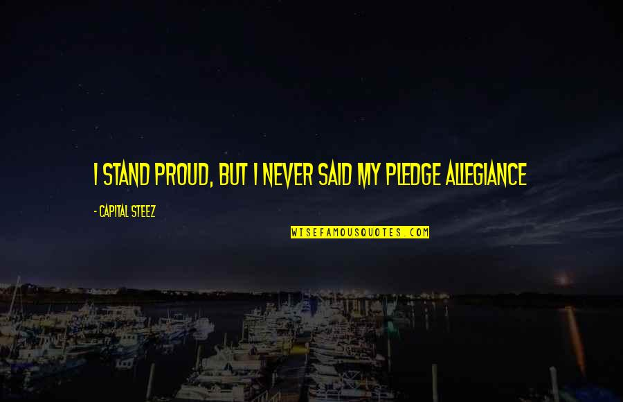 The Pledge Of Allegiance Quotes By Capital STEEZ: I stand proud, but I never said my