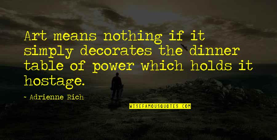 The Power Of Art Quotes By Adrienne Rich: Art means nothing if it simply decorates the