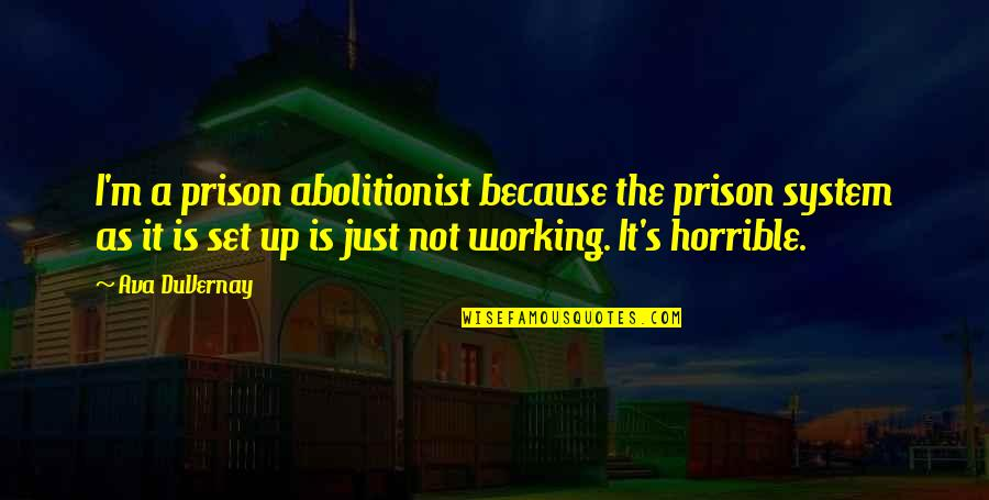 The Prison System Quotes By Ava DuVernay: I'm a prison abolitionist because the prison system